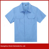 Fabricação de uniformes de vestuário de trabalho de algodão de manga curta para homens (W127)