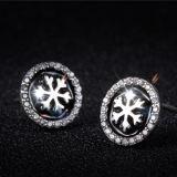Zircon Fiocco di neve-A forma di dell'intarsio degli orecchini dell'argento sterlina di modo 925 delle donne