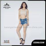 Ladies Sexy Moda 100% algodão de malha Pattern Top Curto