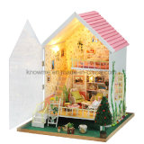 Pink Lovely Miniature Wooden Toy DIY House para presentes para crianças