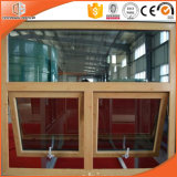Ventana de aluminio del toldo de la rotura termal revestida de madera sólida, ventana colgada superior de aluminio de la rotura termal