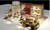 Quiosco femenino del departamento de zapatos, visualización de la venta al por menor