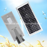 A luz ao ar livre solar integrou tudo em uma luz de rua solar do diodo emissor de luz com sensor de PIR e controlador de MPPT