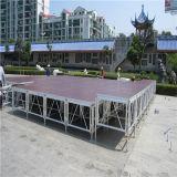 쉬운 DJ는 휴대용 플래트홈 이동할 수 있는 결혼식 훈장 아크릴 유리 알루미늄 옥외 연주회 단계를 설치한다