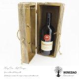 _E de empaquetage articulé par logo fait sur commande en bois de boîte-cadeau de vin de boîte à vin en bois de couvercle de Hongdao