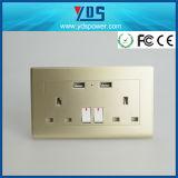 5V 2.1A de Zilveren Britse USB Contactdoos van de Muur