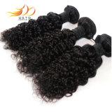 ジェリーのカールのブラジルのバージンの毛のよこ糸を編む100%年のRemyの毛