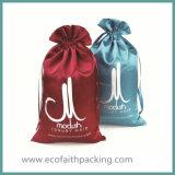 Saco relativo à promoção cosmético do saco cosmético de seda cor-de-rosa do pacote do cetim