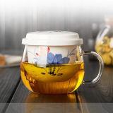 Copo de chá de vidro do projeto da flor com o copo de vidro do presente do chá cerâmico do filtro