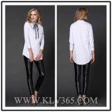 最新のデザイン女性の綿の長い袖ビジネスワイシャツ