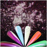 新しいオーロラの魔法のクロムミラーの虹は粉をネイリングする