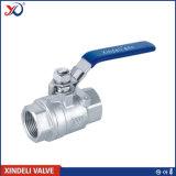 2PC robinet à tournant sphérique de l'acier inoxydable 304 avec l'amorçage