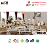 Antike klassische Möbel-hölzernes Sofa mit echtem Leder (HC826)