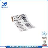Escritura de la etiqueta material rodada talla de encargo de la etiqueta engomada del código de barras del animal doméstico