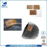 Escritura de la etiqueta de cuero de la etiqueta engomada de la PU de la impresión impermeable de la marca registrada
