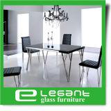 ステンレス鋼の足を搭載するガラスダイニングテーブル