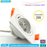 El cuadrado 3W calienta la lámpara blanca Dimmable LED Downlight del techo del LED
