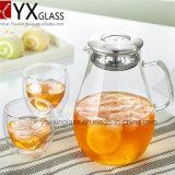 Carafe Gocciolamento-Libero di vetro con la brocca del coperchio della Lanciare-Parte superiore del silicone dell'acciaio inossidabile, dell'acqua calda e fredda, brocca di acqua di vetro della radura del creatore caffè/del tè con la maniglia ed il coperchio laterali
