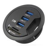 SD MMC TFの充満ポートが付いているOTG USBのディバイダー3ポートUSBのハブ3.0