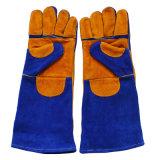 Перчатки заварки безопасности длиннего двойного Cowhide ладони теплостойкNp