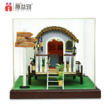 Mini miniatura de madeira da casa do brinquedo DIY
