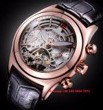 Special que diseña el reloj mecánico para los hombres con la venda de cuero Fs447 de Gunine