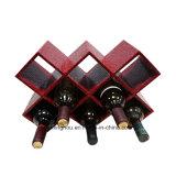Kreative 8 Flaschen PU-hölzerne Wein-Zahnstange für Wein-Bildschirmanzeige