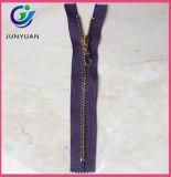 Zipper de nylon dos dentes dourados para o saco