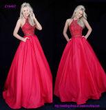 Heißes Verkaufs-Taft Ballgown Abschlussball-Kleid mit einem hoher Stutzenhalter-wulstigen Mieder