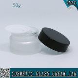 kosmetisches Sahne-Glas des bereiften Glas-20ml mit Plastikkappen