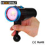 Hoozhu V13 잠수 영상 가벼운 빨간 백색 욕심 자주색과 UV 5개의 색깔 LED 수중 빛 120m