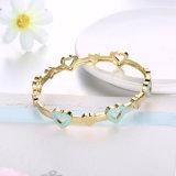 Brazalete azul plateado oro de imitación del corazón de la joyería del brazalete de la inserción del corazón