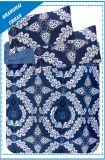 オーシャンブルーのジグザグ形Polycottonはキルトカバーセットを印刷した