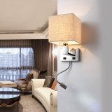 직물 그늘을%s 가진 아주 실제적인 현대 호텔 침대 곁 LED 독서 벽 램프 빛