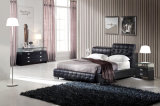 Re nero Size Button Leather Bed (HC218) genuino del cuoio