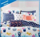 アイボリーの花パターンはポリエステル羽毛布団カバー寝具を印刷した