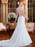 Vestido de casamento longo transparente do teste padrão do laço das luvas de Trumpt da sereia luxuosa