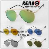 Óculos de sol redondos Km17099 do metal do frame do projeto especial da sobrancelha