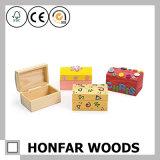 Casella di legno solida grezza non finita di immagazzinamento in il contenitore di regalo per DIY