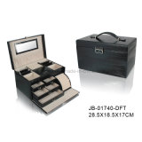 Hot Sale Cuir Violet avec Gris Doublure Cadeau Bijoux Boîte de rangement Boîte à bijoux en cuir