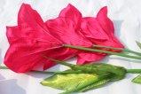 Fiori rossi di seta di falsificazione del giglio dei fiori artificiali di alta qualità per gli accessori domestici della decorazione di cerimonia nuziale