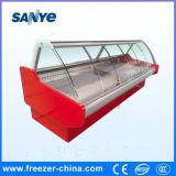 Tipo de vidro refrigerador da curva do indicador da parte superior contrária para o alimento do supermercado fino