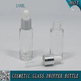 Cilindro de 10ml en forma de botella de gotero de vidrio transparente para el aceite esencial