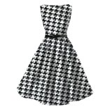 Audrey Hepburn Plus Size Cotton Swing Dress Mulheres Casual