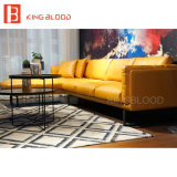 덴마크 노란 색깔 현대 코너 부분적인 가죽 소파 세트