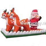 Décoration gonflable gonflable de Santa Reindeer Sleigh de Noël