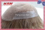 O laço suíço o mais natural com recolocação fina do cabelo do perímetro da pele