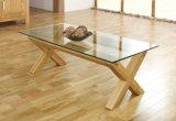 Lyon-Дуб-Стекл-Кофе-Таблица/журнальный стол конструкции/твердый журнальный стол древесины золы