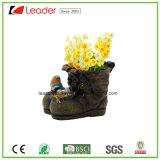 Poliresina decorativo arranque del plantador con los pájaros de la familia para decoración de jardín