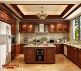 Cabina de cocina de madera de la cocina de los muebles de la teca sólida holística del diseño (GSP5-048)